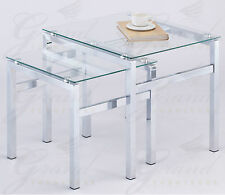 Elsa Clear Glass Nest of Tables Set of 2 Coffee End Lamp End Table Living Room