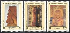 French Polynesia 1983 Religious Sculptures/Art/Carving/Artists 3v set (n40229)