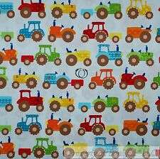 BonEful FABRIC FQ Cotton Quilt White Green Red Blue Farm Tractor Baby Boy Dot US