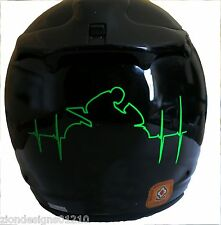 Motorcycle racer HEART BEAT RATE fluorescent green sticker decal graphic Rossi