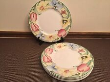 "Villeroy & Boch ""CANARI"" Bone China  ~ Set of 5 ~ Dinner Plates ~  10 3/4"""