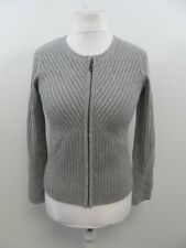 Pure Collection Cashmere Knitted Zip Up Jacket Grey Ladies Size 8 Box4449 B
