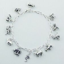 Charm bracelet 925 sterling silver hallmarked chinese zodiac charms  210mm long
