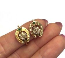 Adorable! Antique Victorian Paste and Pearl 10K Yellow Gold Horseshoe Earrings