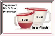 Tupperware CLASSIC MIX N STOR PITCHER SET/2 Pitchers 4 & 8 C Measure Store Pour