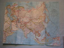 VINTAGE ASIA AND ADJACENT AREAS WALL MAP National Geographic December 1959 MINT
