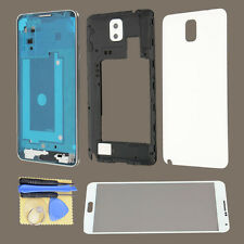 White Full Housing Frame Cover For Samsung Galaxy Note 3 N900 + Outer Glass Lens