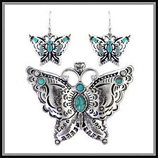 CHRISTMAS BUTTERFLY  WESTERN  SILVER TURQUOISE  EARRING PENDANT SET SCARF CHARM