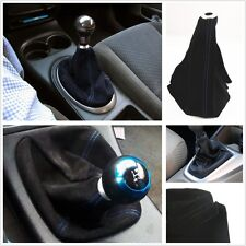 Dustproof Set Blue Stitch Black Nubuck Leather Shifter Knob Boot Cover Fit All