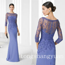 3/4 Sleeve Bateau Mother Of The Bride Dresses Wedding Party Formal Evening Gowns