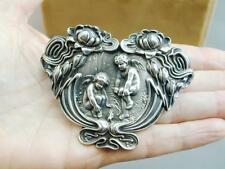 HUGE Art Nouveau Under Brothers Water Lily & 2 Cherub Making Fire Pin Brooch
