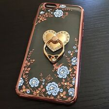 For iPhone 6 / 6S - TPU RUBBER CASE COVER ROSE GOLD FLOWERS DIAMOND RING HOLDER