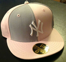 New York Yankees NEW ERA 59FIFTY Fitted Hat Pink/Grey MLB AUTHENTIC Size 7 3/4