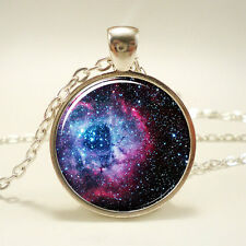 Vintage Cabochon Galaxy Star Silver Plated Glass Chain Pendant Necklace #fy42