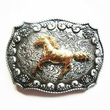Western Decorament Antique Silver/Bright Gold Horse Buckle W/Loop & Post Back