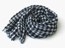Large Navy and White Plaid Scarf, 100% Linen, Checkered Gingham Long Lightweight