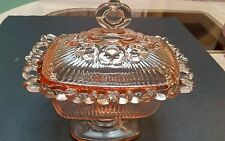 Vintage Indiana Depression Glass Compote / Candy Dish Pink OPEN LACE FOOTED- LID
