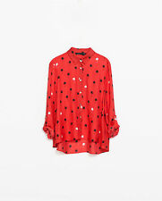 NEW ZARA 2015 RED SILK PALM TREEE PRINT BLOUSE TOP SHIRT SIZE XS RARE