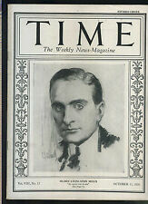 Time Magazine October 11 1926 Ogden Livingston Mills excellent