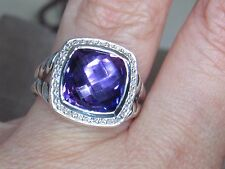DAVID YURMAN ALBION 11MM AMETHYST DIAMOND STERLING SILVER RING