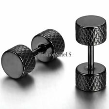 Stainless Steel Double-sided Dumbbell Round Earrings Unisex Men's Ear Studs 2pcs