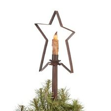 CHRISTMAS TREE STAR with CANDLE LIGHT Handcrafted Primitive Topper in Rustic Tin