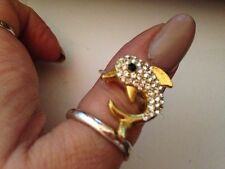 Womens gold and  silver  sparkly dolphin crystal / Toe ring Stretch Elastic new