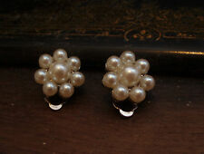 Vintage Round Cluster Pearl  Clip  Earrings