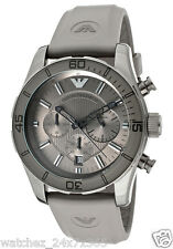 EMPORIO ARMANI CHRONOGRAPH MEN'S WATCH AR5949 GRAY ION PLATED STEEL CASE PU BAND