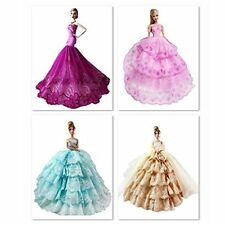 10 Pcs Gorgeous Handmade Wedding Party Gown Dress Clothes For Barbie Doll Random