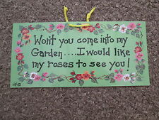 SMILEY SIGNS HANGING SIGN - WON'T YOU COME INTO MY GARDEN