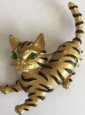 Trifari TM 90s Reproduction Ark Series Cat Brooch Black Enamel Strips Green Eyes