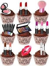 Make-up Lipstick Blusher Cosmetic Cup Cake Edible Decorations Toppers Party