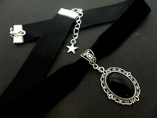 A LADIES GIRLS BLACK  VELVET & ONYX STONE CHOKER NECKLACE. NEW.
