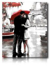 Painting by Number kit Romantic Paris Lovers Kissing In Rain Eiffel Tower MS7023