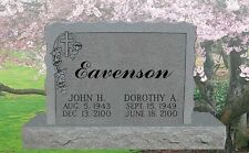 Granite Headstone with sculpted sides vine & cross Tombstone just add your text
