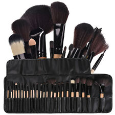 24Pcs Professional Makeup Brushes Cosmetic Set Kit w/Pouch Bag Case Black Wood