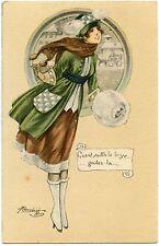 ILLUSTRATEUR M. CHERUBINI. FEMME. MODE .FASHION. PRETTY WOMAN. MANCHON.