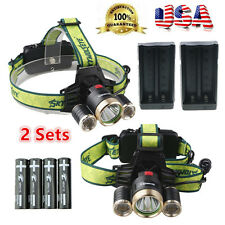 2 Sets 10000LM 3Head XM-L T6 LED Headlamp Headlight Torch FlashLight Lamp Light