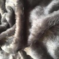 """DARK GREY Fur Fabric Material 60"""" 150cm wide Plain 14mm Pile"""