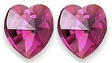 2 SWAROVSKI CRYSTAL GLASS HEART PENDANTS 6228, FUCHSIA AB, 10 MM