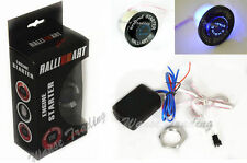 Universal Black RalliArt Button Ignition Engine Start Starter Switch Blue Led