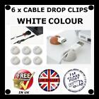 6 X WHITE Cable Drop clip desk tidy organiser wire cord lead USB CHARGER HOLDER