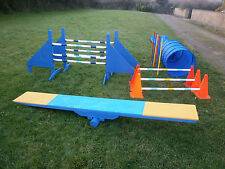 NEW DOG AGILITY SET, 2 JUMPS, TUNNEL, 6 WEAVE POLES, SEESAW, LONG JUMP/HURDLES