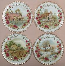 ROYAL ALBERT OLD COUNTRY ROSES SET OF FOUR SEASONS PLATES, ENGLISH FIRST QUALITY