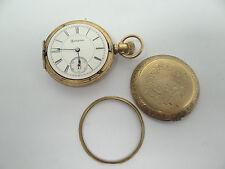 Engraved Lefa 1895 Antique Old Hampden Men's Pocket Watch Parts Gold Colored