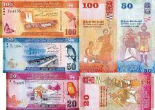 SRI LANKA - Lotto 3 banconote 20/50/100 Rupees 2011 FDS - UNC