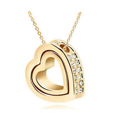 NEW Fashion Double Heart Clear Crystal Charm Pendant Chain Necklace Gold QO28