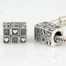 FAMILY LOVE HEART MUM solid 925 sterling silver charm bead fit european bracelet