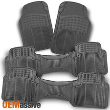 All Weather Rubber Semi Grey Car Front + Rear Floor Mats 4 Pcs Liner Heavy Duty